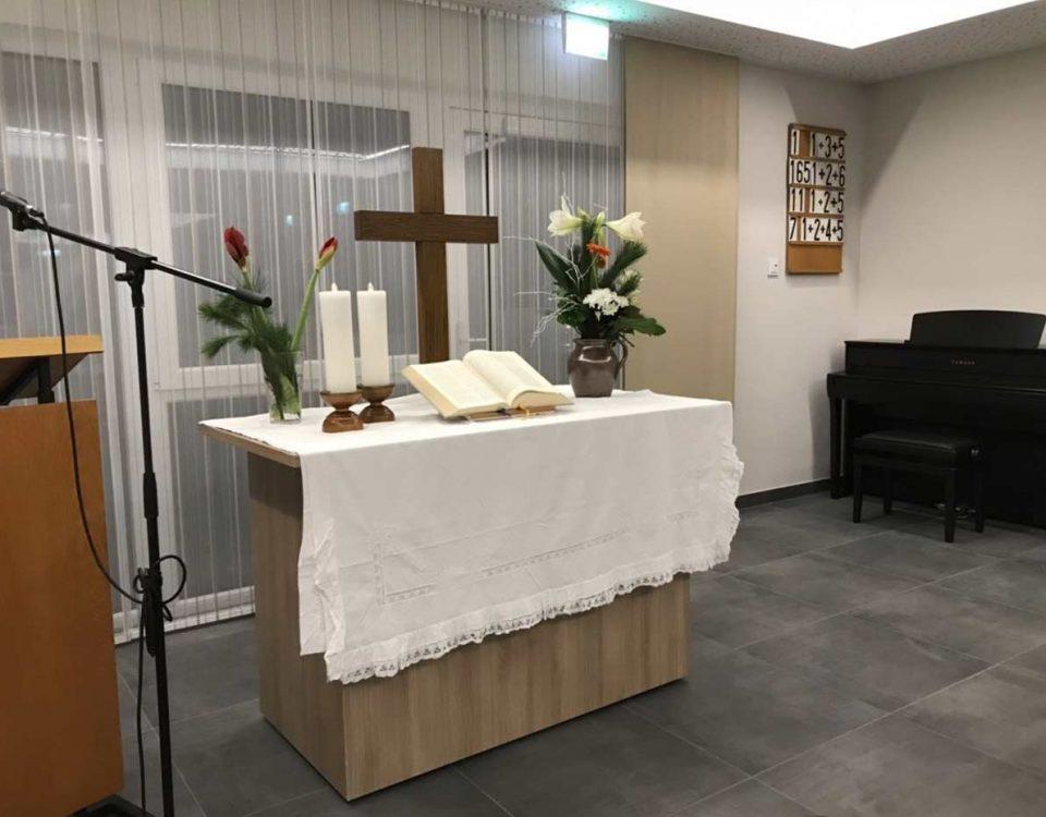 Mit einem Gottesdienst wurde am 2. Dezember 2017 der Andachtsraum im Neubau des Evangelischen Altenpflegeheims in Bretten eingeweiht.